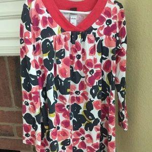 Tea Collection Long Sleeve Floral Pink SZ 7 Dress